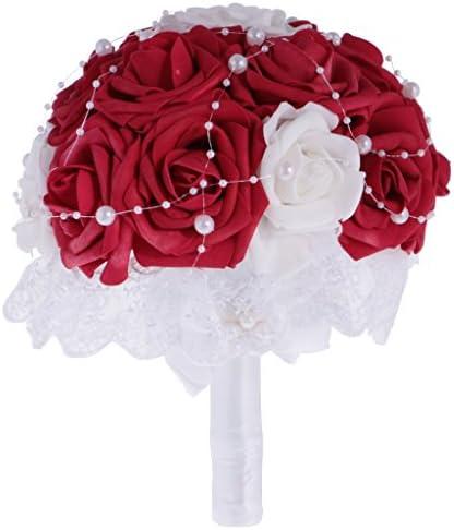 結婚式の花花嫁の花嫁介添人のブーケflowergirls結婚式のパーティープロムレッド