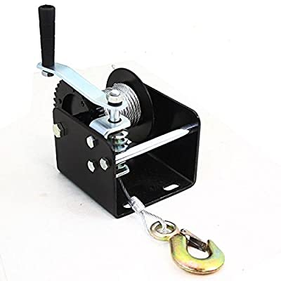 2000lb Worm Gear Winch Hand Cable Trailer Truck Boat Manual Crank Portable Mount