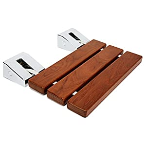 Kenley Folding Shower Seat Wooden Wall Mounted Bench Bathroom Stool - Teak Wood / Stainless Steel