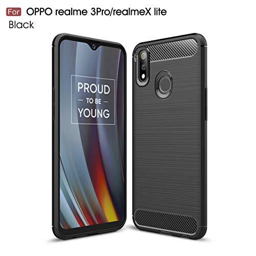 Oppo Realme 3 Pro case,Realme X lite case,Silicone Shockproof Cover Durable Ultra Thin Carbon Fiber Soft Protection case for Oppo Realme 3 Pro/Realme X lite (Black)
