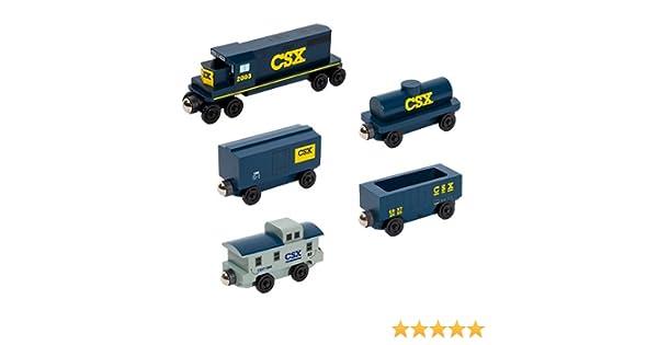 Wooden Toy Train Whittle Shortline Railroad CSX-T GP-38 Engine 5 Car Set