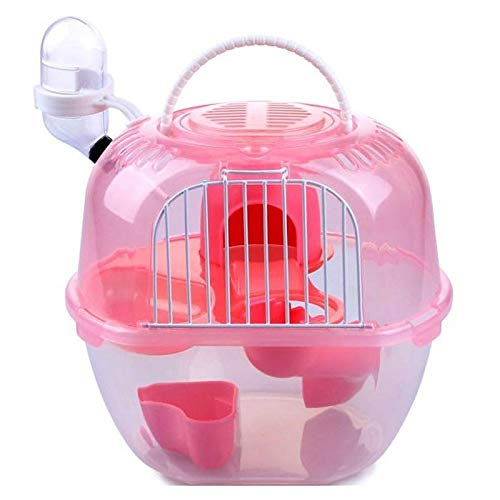 Pink Hamster Cage Outdoor Portable Travel Double Layer Living House Carrying Plastic Green orange Pink (color   Pink)