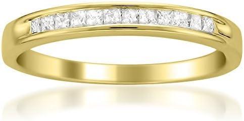 1/4 Carat Diamond, Channel-Set 14kt Yellow Gold Princess-Cut Diamond Bridal Wedding Band Ring (I-J, I2-I3) via La4ve Diamonds | Real Diamond Rings For Women | Gift Box Included
