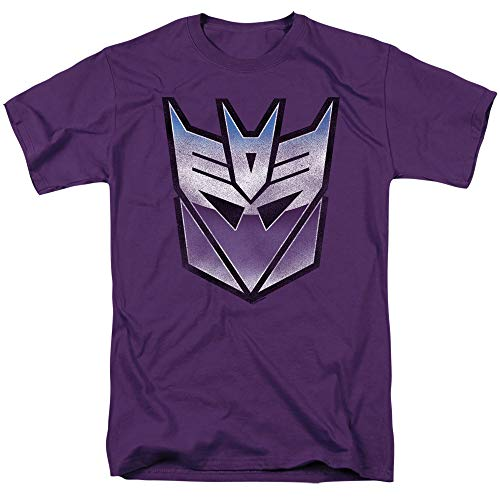 Transformers Vintage Decepticon Logo Unisex Adult T Shirt for Men and Women, Large Purple