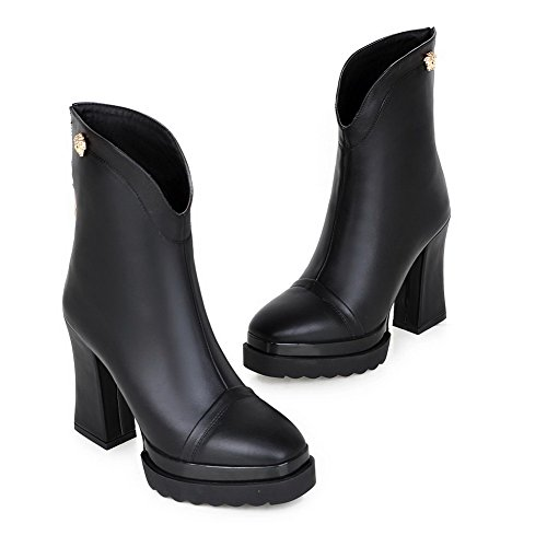 AmoonyFashion Heels Women's Square Closed High Chunky Sole Boots Heels Slipping Toe and Toe with Black pw4wSqrxY