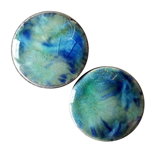 Pair - Blue Azure Ceramic Glass Ear Plugs with Essential Oils Diffuser for Scented Gauges (08mm l 0g)