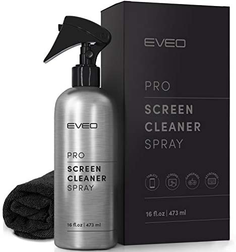 Screen Cleaner PRO Spray – for TV Screen Cleaner, Computer Screen Cleaner Laptop, Phone, Ipad – Computer Cleaning kit Electronic Cleaner – HQ Microfiber Cloth Included, Large 16oz Bottle