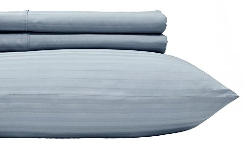 (Royal's Stripe Blue 500 Thread Count 4pc Queen Bed Sheet Set 100% Cotton, Sateen Stripe, Deep Pocket)