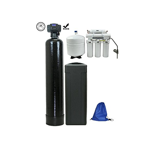 ABCwaters Built Fleck 5600sxt 48,000 Black SPACE SAVER Water Softener (10% Resin with RO Combo)