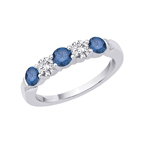 5-Stone Alternating Blue and White Diamond Band in 14K White Gold (1 cttw)
