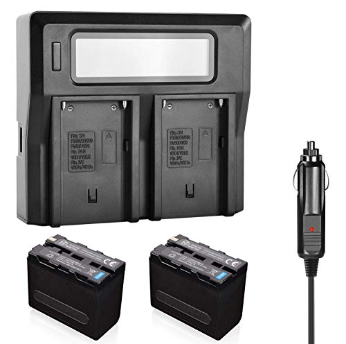 PHOTO MASTER 2X NP-F970/F960/F930/F950 Battery + LCD Dual Charger for Sony Camcorder, Sony CCD-TR Series, CCD-TRV Series, Sony DCR-TR Series, Sony DCS-CD, Sony MVC-FD Series, Video Light, Monitors ()