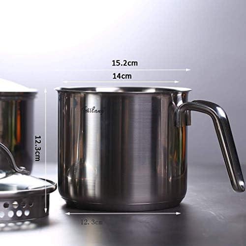 TJLSS Le Lait en Acier Inoxydable Pan, Mini Beurre café Chaud Lait Melting Pot Soupe Chaude Surélévation Fond épais 14cm