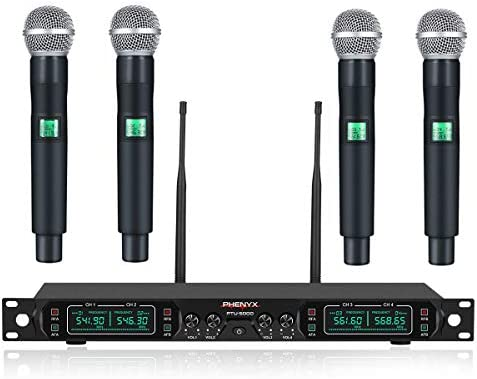 Phenyx Pro 4-Channel UHF Wireless Microphone System, Metal