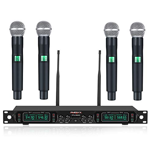 Wireless Microphone System, Phenyx Pro 4-Channel UHF Cordless Mic Set With Four Handheld Mics, All Metal Build, Fixed Frequency, Long Range 260ft, Ideal for Church,Karaoke,Weddings, Events -