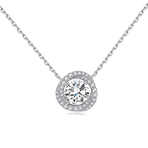 Rhodium Plated Sterling Silver Round Solitaire Cubic Zirconia CZ Halo Pendant Necklace It's a circle gift (Silver Knot) Circle Zirconia Necklace