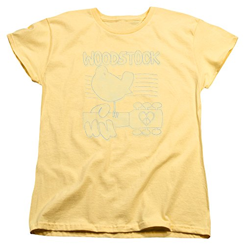 Ladies Woodstock 1969 Festival Logo Shirt, Banana, - Woodstock Tee Ladies