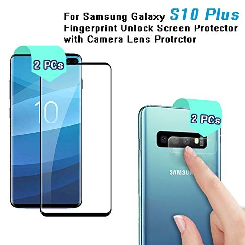 Galaxy S10 Plus (6.4'') Screen Protector with Camera Lens Protector,Case-Friendly,Ultra-Clear,Bubble-Free Tempered Glass Screen Protector for Samsung S10 ()