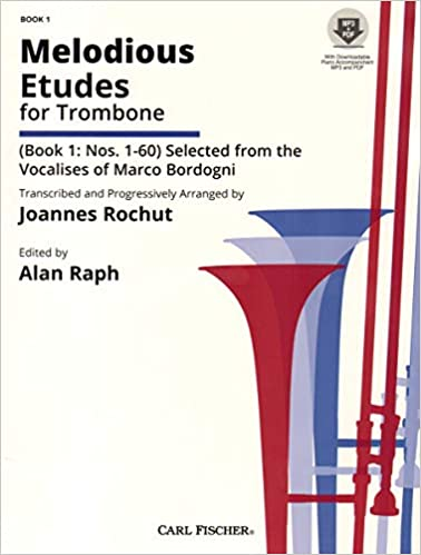 Lovely Melodious Etudes For Trombone Book 1 Rochut+audio Buy One Give One Brass Instruction Books, Cds & Video