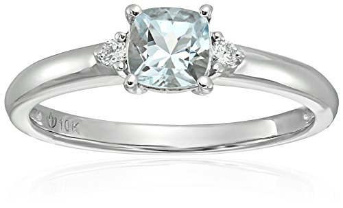 10k White Gold Aquamarine and Diamond Accented Classic Solitaire Engagement Ring, Size 7 ()