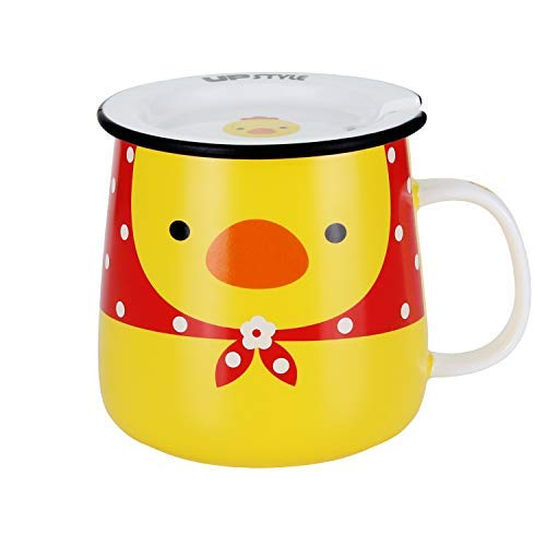 - UPSTYLE Cute Ceramic Coffee Travel Mugs with Lid Funny Chicken Yellow Porcelain Milk and Tea Cup for Animal Lovers as a Novelty Gift, 11 oz