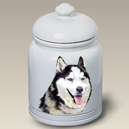 Siberian Husky Grey - Barbara Van Vliet Ceramic Treat Jars - Siberian Husky Treat Jar