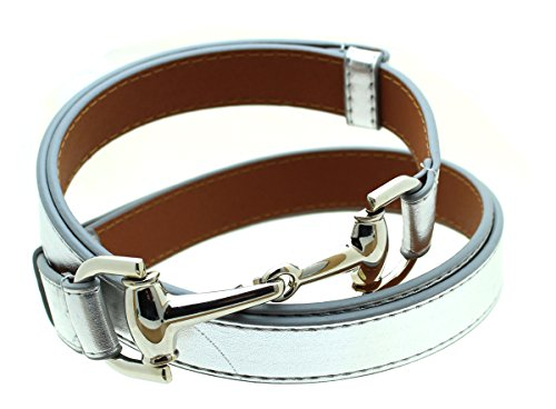 Womens Thin Skinny Metal Tone Leather Belt Horsebit Buckle - (Horsebit Buckle Belt)