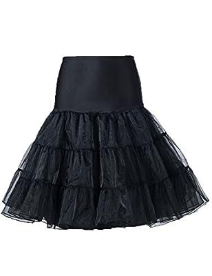 Women 50s Petticoat Skirts Tutu Midi Dress Underskirt Hoopless Crinoline P15