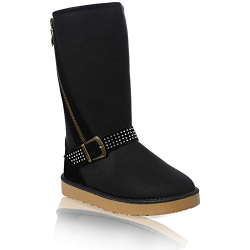 LINED BUCKLE FLAT Black 3 SHOES FUR WINTER ANKLE BOOTS WOMENS LADIES 8 ZIP SNUGG FAUX q4XZIHw