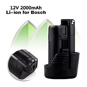 Bonacell Premium 12V 2000mAh Replacement Battery for Bosch BAT411 BAT412 BAT413 BAT414, Lithium-Ion Battery