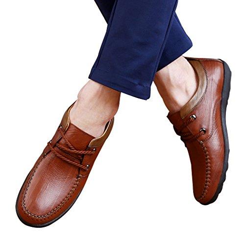 Pik & Clubs Herren-Slipper aus Echtem Leder, modisches Casual, einzigartige personalisierte Loafer, trendy, mit 2Ösen und Senkel, Flache Schuhe, Braun - braun - Größe: 39.5