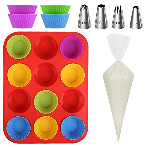 Kootek Silicone Muffin Pan Sets with 12 Cupcake Liners Cups 4 Numbered Piping Tips 10 Pastry Bags Nonstick Baking Pan for Cake Cupcake Decorating Supplies