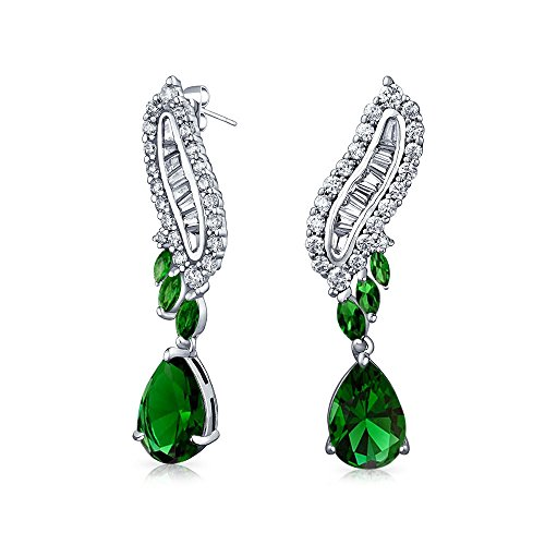 Art Deco Style Green CZ Teardrop Baguette Simulated Emerald Dangle Drop Prom Statement Earrings Silver Plated Brass