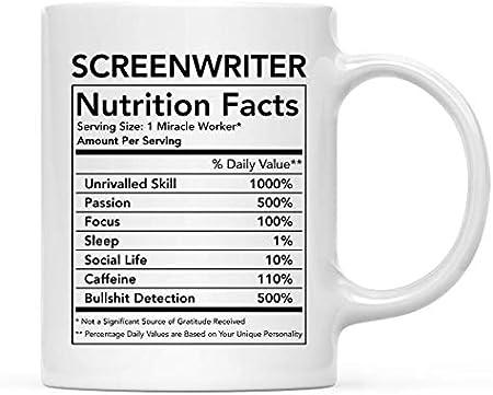 Divertida taza de cerámica para té y café, regalo de agradecimiento, información nutricional del guionista, paquete de 1, novedad, mordaza, cumpleaños, Navidad, ideas para regalos, compañero de trabaj