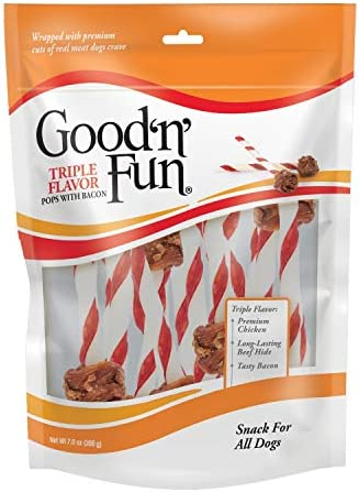 Good n Fun Triple Flavor Meat Pops Rawhide Dog Chews with Bacon