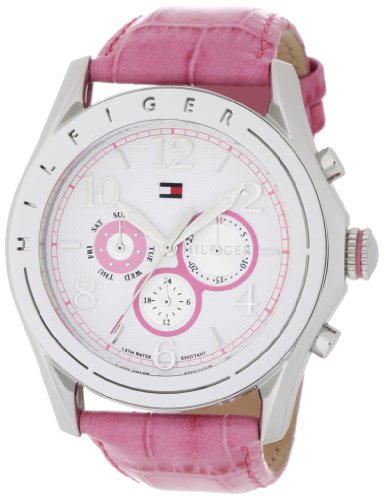 (Tommy Hilfiger Women's 1781055 Sport White Dial with Pink Croco Embossed Strap Subdial)