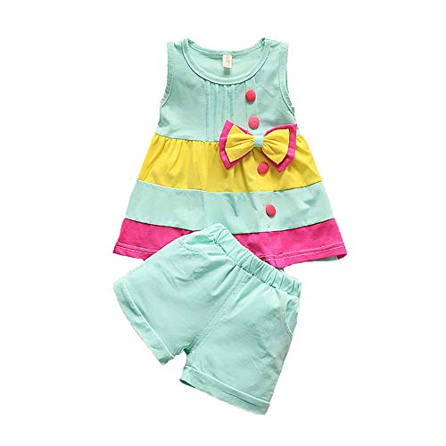 Summer Girls Set Toddler Clothes Sleeveless Vest+ Shorts 2 pcs Kids Rainbow Baby Childen Outfit Suit (Blue, 12M)]()