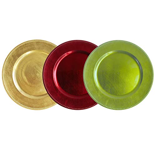 Tiger Chef 13-inch Christmas Holiday Round Beaded Charger Plates, Set of 12 Includes 4 Red, 4 Lime Green, 4 Gold Dinner Chargers