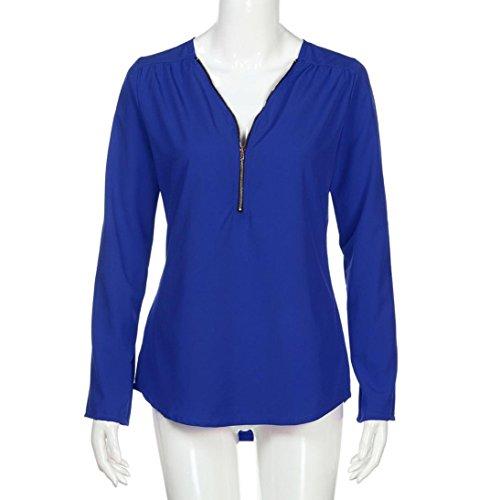 Chemisier Mousseline Tonsi Col Blouse Femme Chic Tunique Fluide Soie en Chemise de V Top Bleu rBrZwH