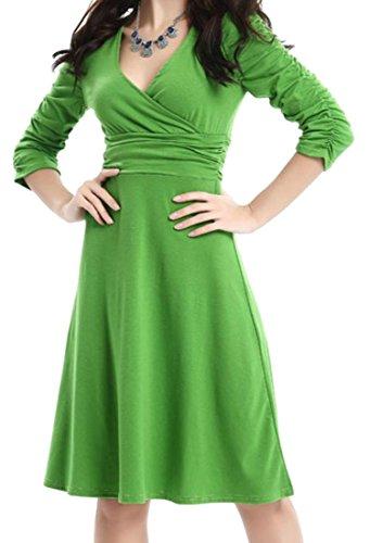 Cromoncent Pour Femmes Élégantes Plissée Du Cou Manches Longues V Balancer Robes Midi Gris Foncé