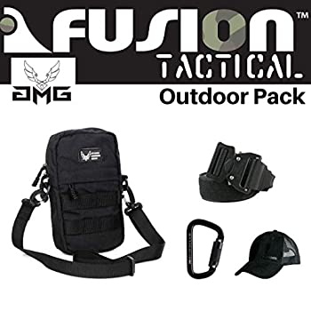 Image of AMG Pack Black, Great Carry-On Flight Approved Travel Bag, Outdoors, and on The Go, with Belt, Carabiner and Black Cap Included Game Belts & Bags