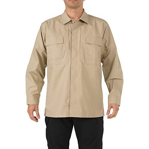 5.11 Tactical Men's TDU Long Sleeve Shirt, Poly-Cotton Ripstop Fabric, Teflon Treated, Style 72002