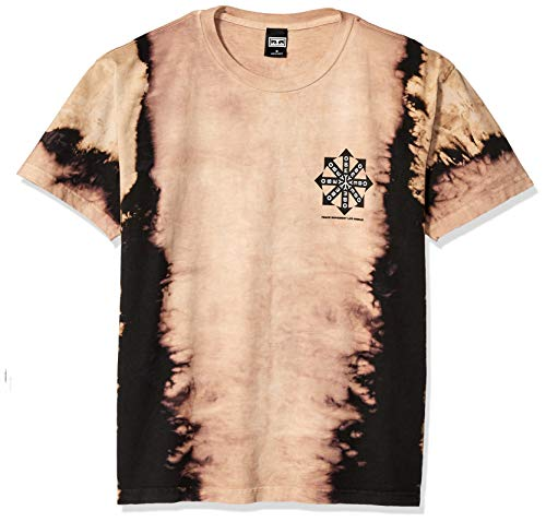 (Obey Men's Peace Movement Vertical TIE DYE SS TEE, Black, Small )