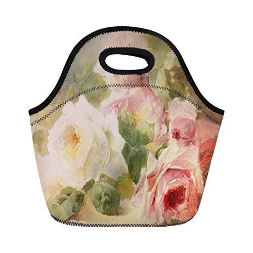 Ablitt Lunch Bags Pink Bouquet Victorian Rose Watercolor Roses White Feminine Shabby neoprene lunch bag lunchbox tote bag portable picnic bag cooler bag