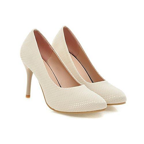 Amoonyfashion Kvinna Mjuk Material Pull-on Pekade Sluten Tå Kick-häl Fast Pumpar-shoes Beige