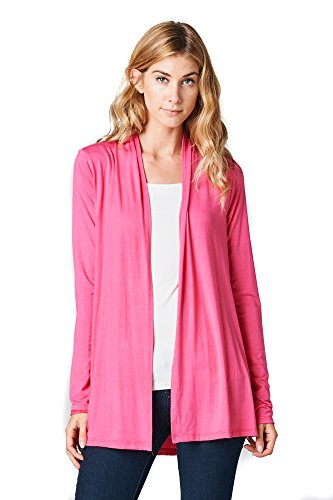 ReneeC. Women's Extra Soft Natural Bamboo Open Front Cardigan - Made in USA (Large, Hot Pink)
