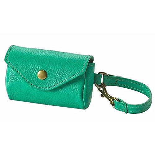 Dog Waste Bag Holder, Green Italian Vachetta Leather - Vachetta Green