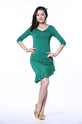 Danza del vientre Disfraz Middle manga V Neck Bandage Floral Edge Chalecoir Custome Green