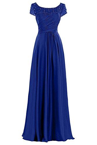La_mia Braut Lang Dunkel Braun Chiffon Brautmutterkleider Abendkleider Abschlussballkleider Ballkleider mit Kurzarm Royal Blau RKYMaQNJa