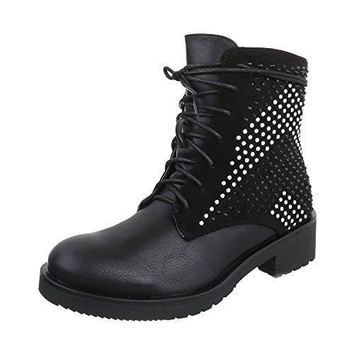 Zapatos para mujer Botas Tacón ancho Botines de cordones Ital-Design Negro
