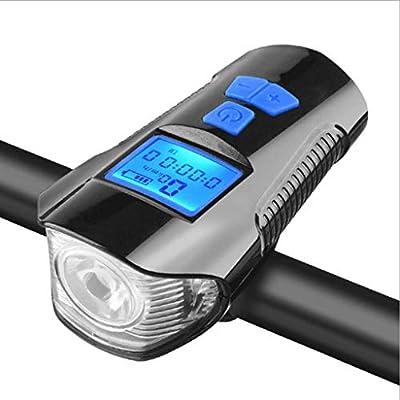 USB Recargable Linterna de la Bicicleta Campana de Alarma, luz de la Bici del odómetro y 4 Modo Luz Se Adapta a Todas Las Bicicletas, firmes dirigidas linternas FÁCIL DE Instalar,Negro: Amazon.es: